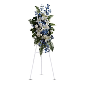 Blue & White Tribute Easel Spray